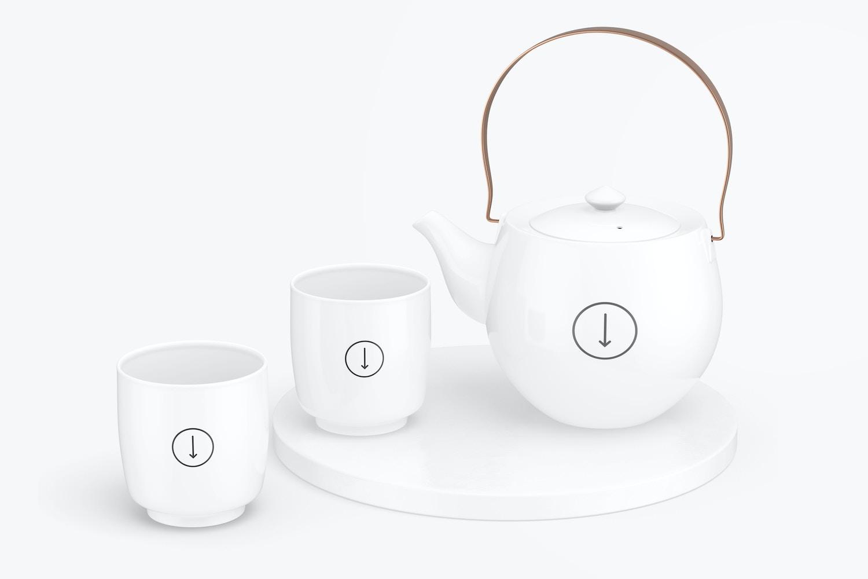 Japanese Ceramic Tea Set Mockup