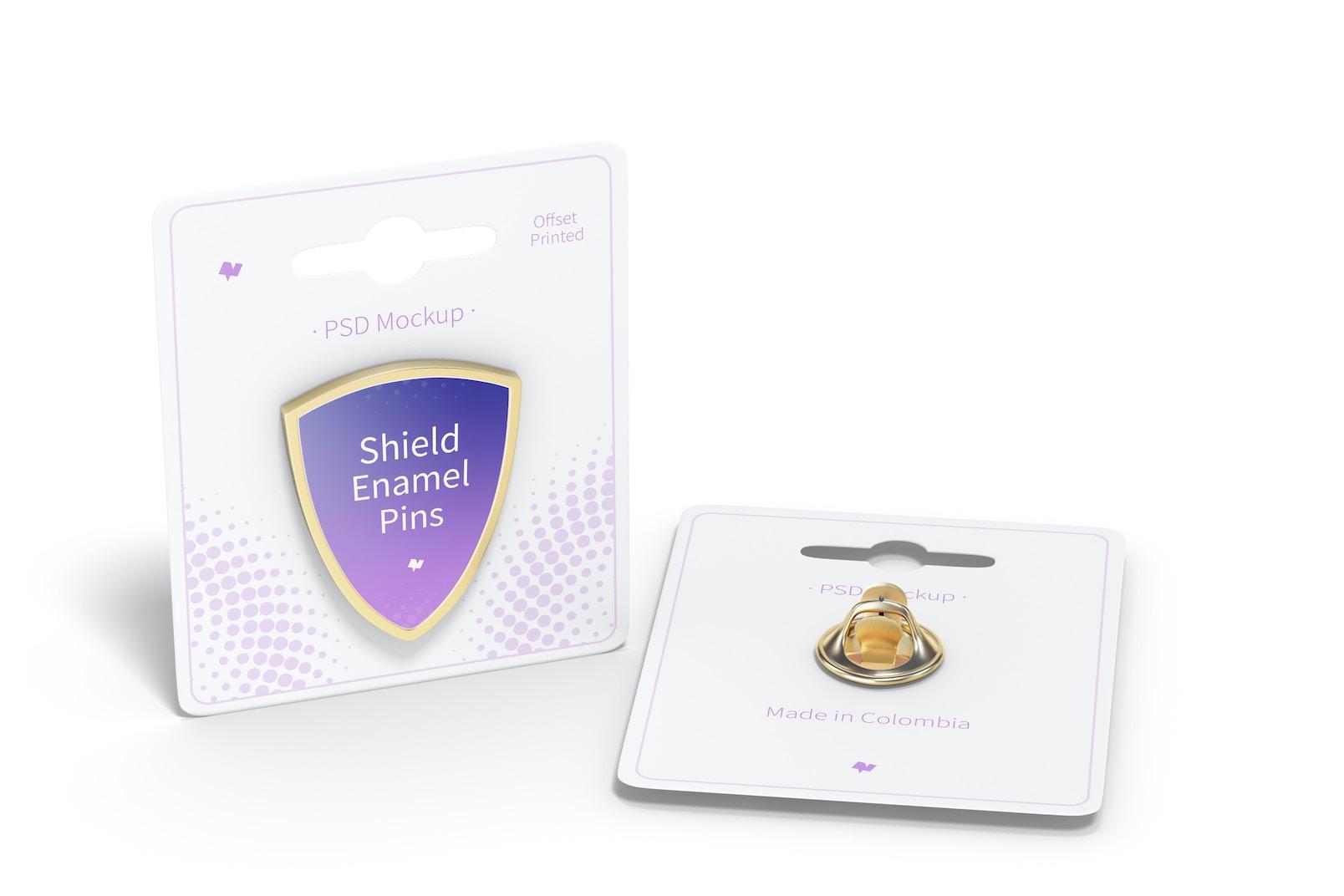 Shield Enamel Pin Mockup, Perspective