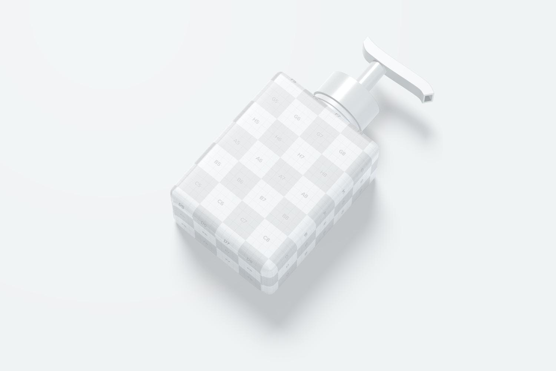 250 ml Square Pump Bottle Mockup, Front View 02