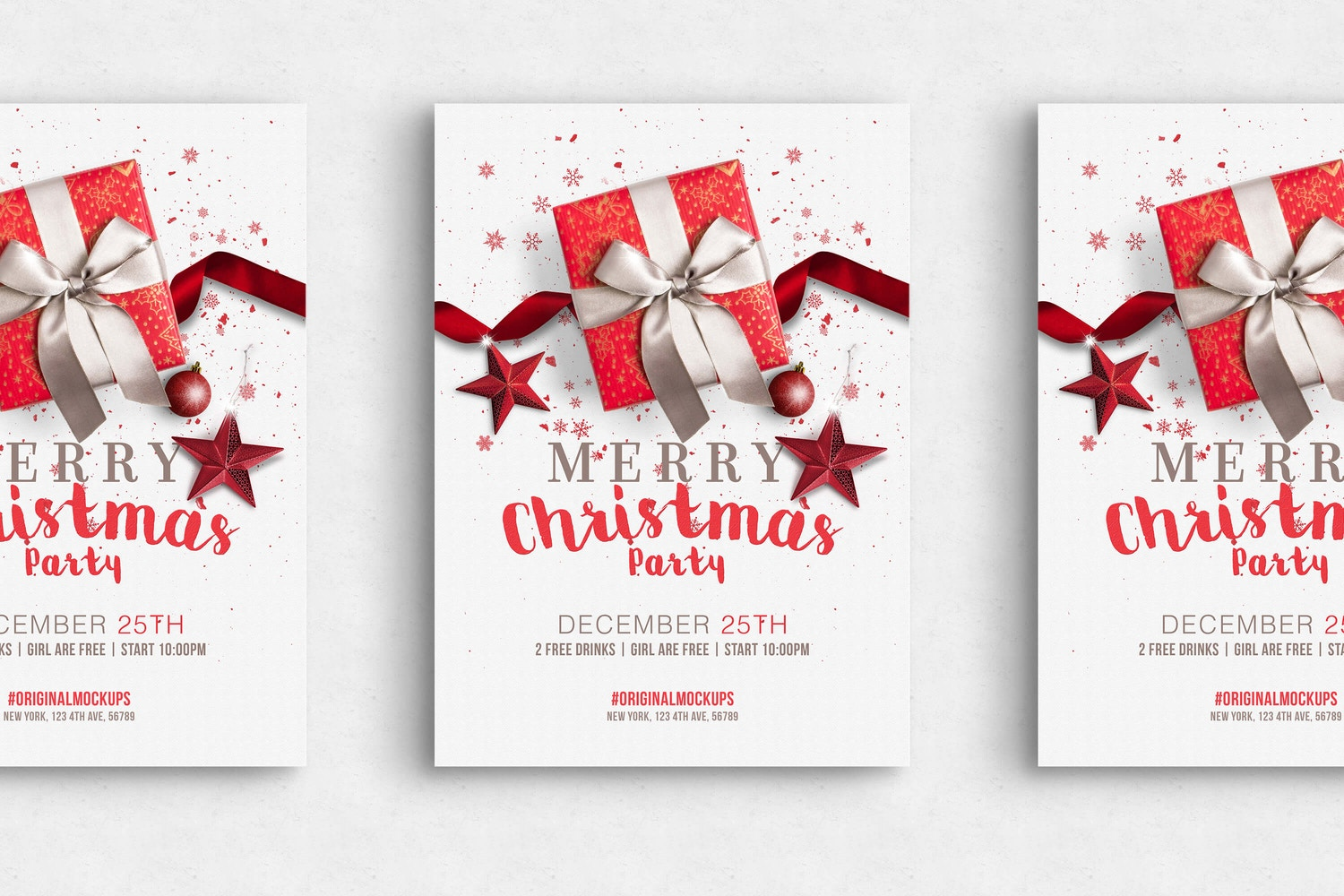 merry christmas party flyer poster original mockups