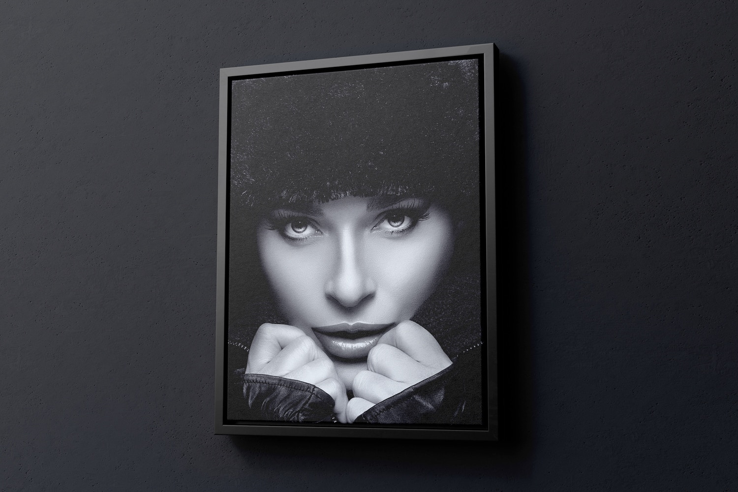 3:4 Portrait Canvas Mockup in Floater Frame, Right View