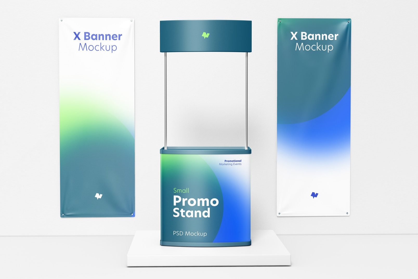 Small Promo Stand with X Banners Mockup