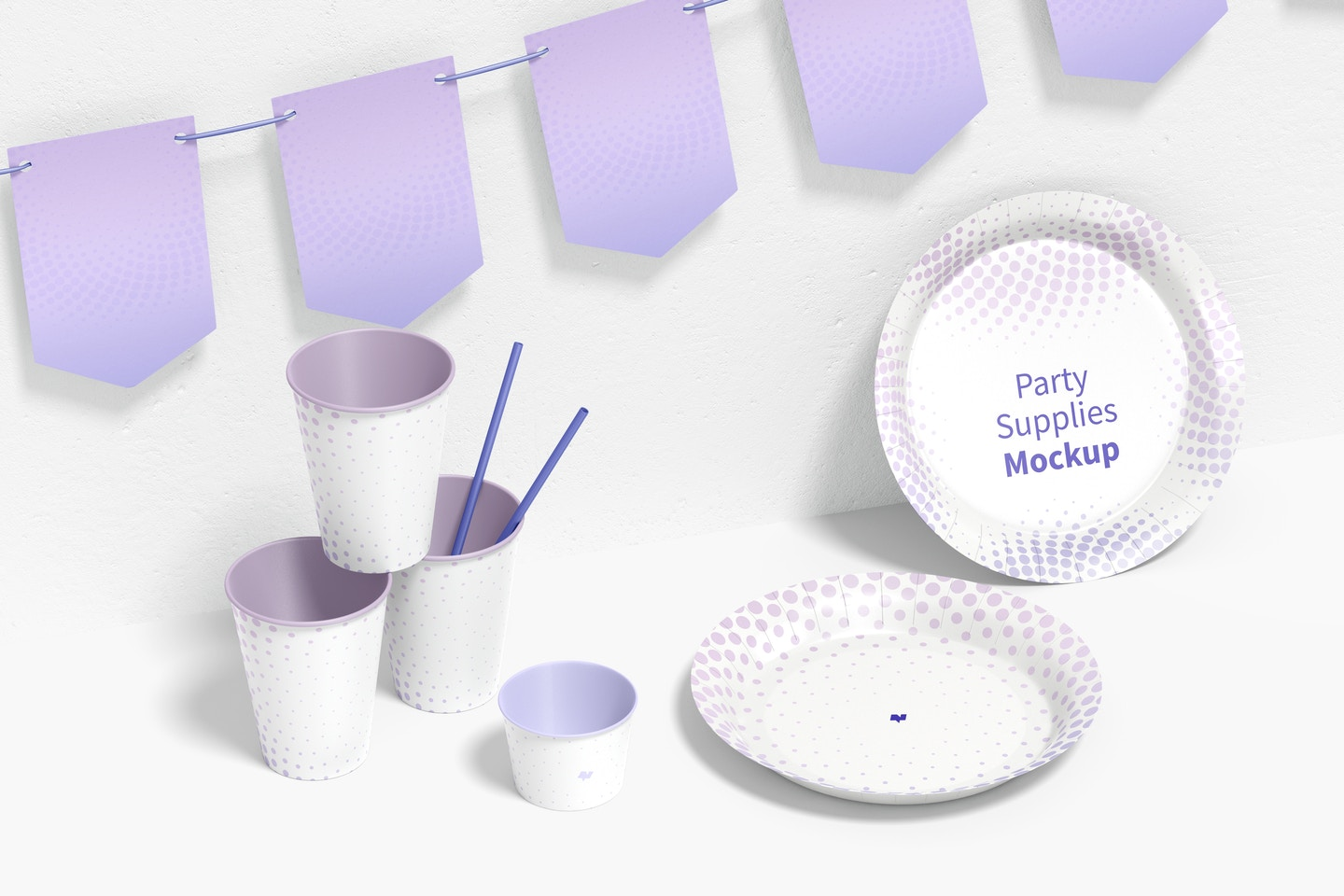 Party Supplies Mockup, Left View