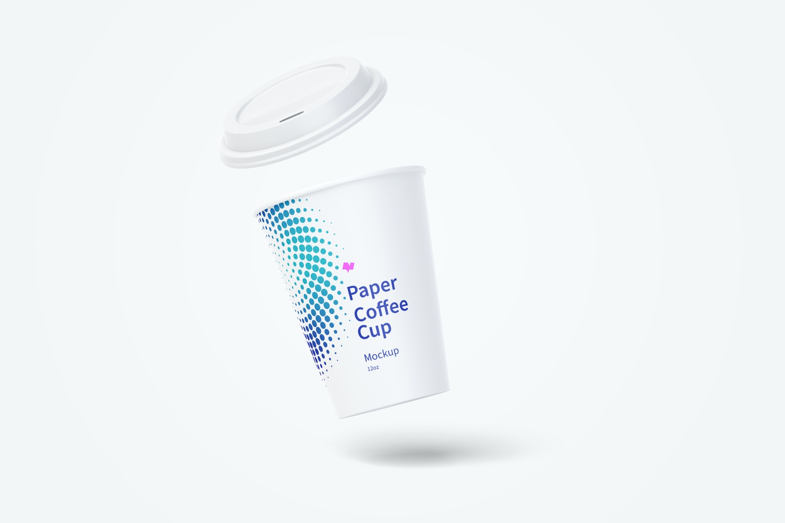 12oz Paper Coffee Cup Mockup, Floating