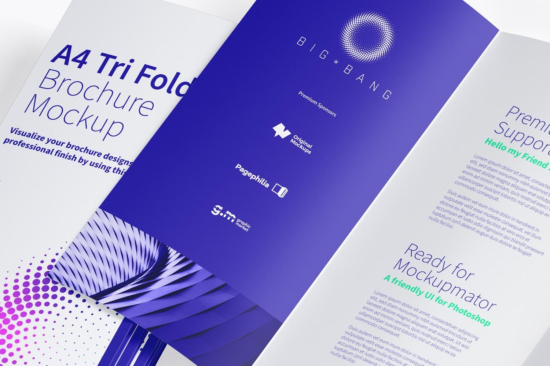 A4 Trifold Brochure Mockup 08 (3) by Original Mockups on Original Mockups