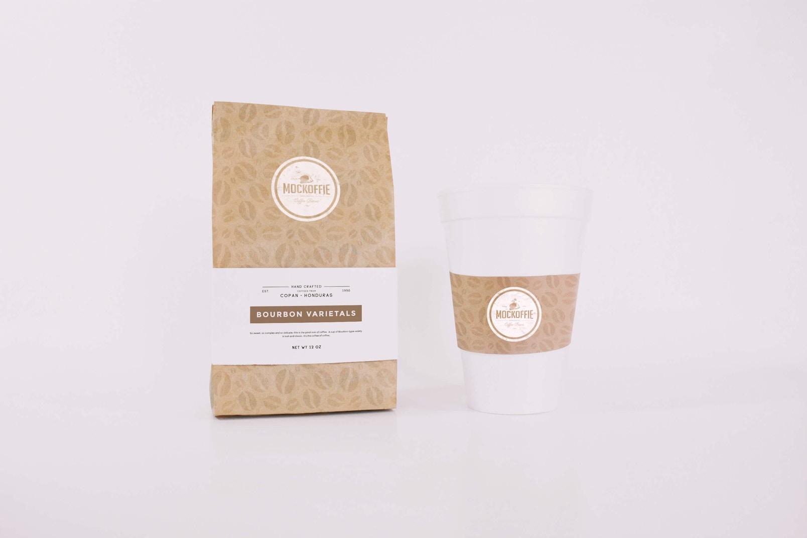 Coffee Bag and Cup Mockup
