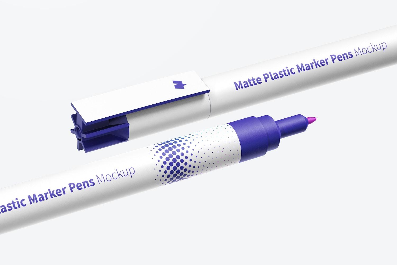 Matte Plastic Marker Pens Mockup