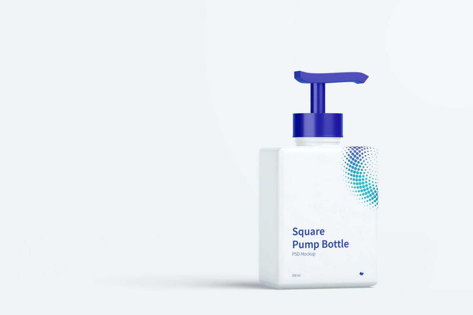 250 ml Square Pump Bottle Mockup, Front View 04