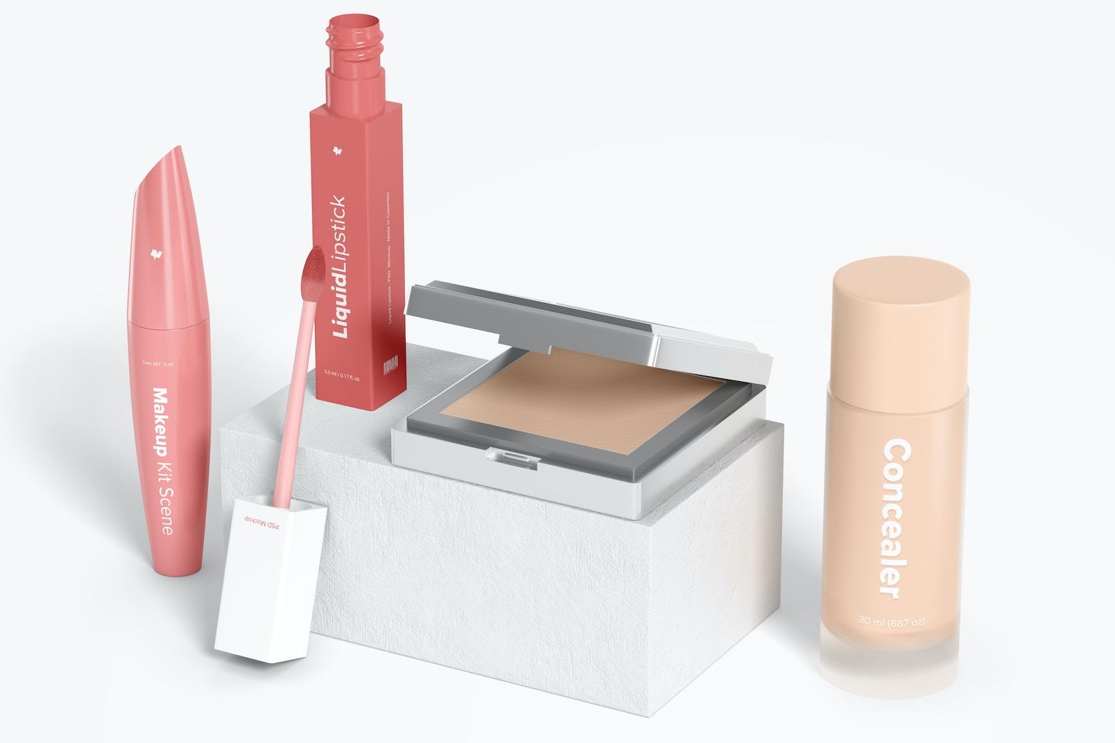 Makeup Kit Scene Mockup, Left View