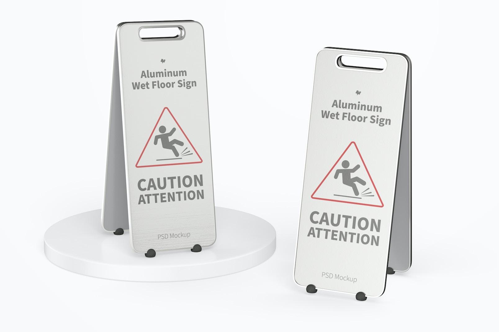 Aluminum Wet Floor Signs Mockup