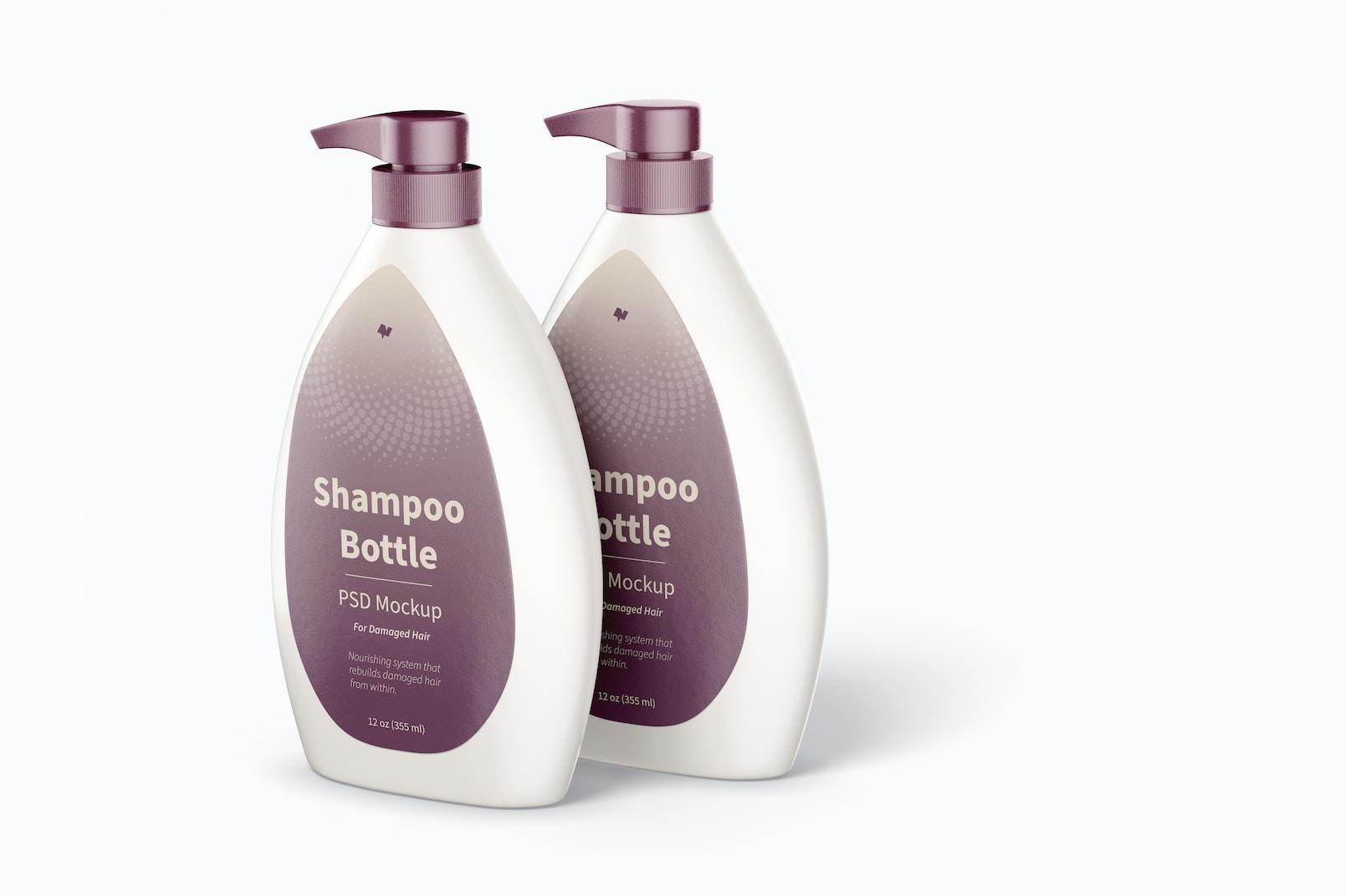 Shampoo Bottles with Pump Mockup