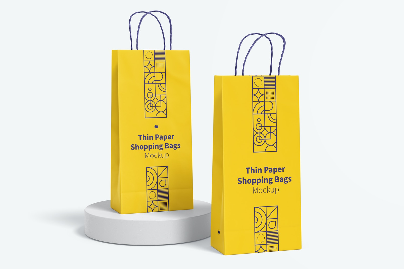 Thin Paper Shopping Bags Mockup, Right View
