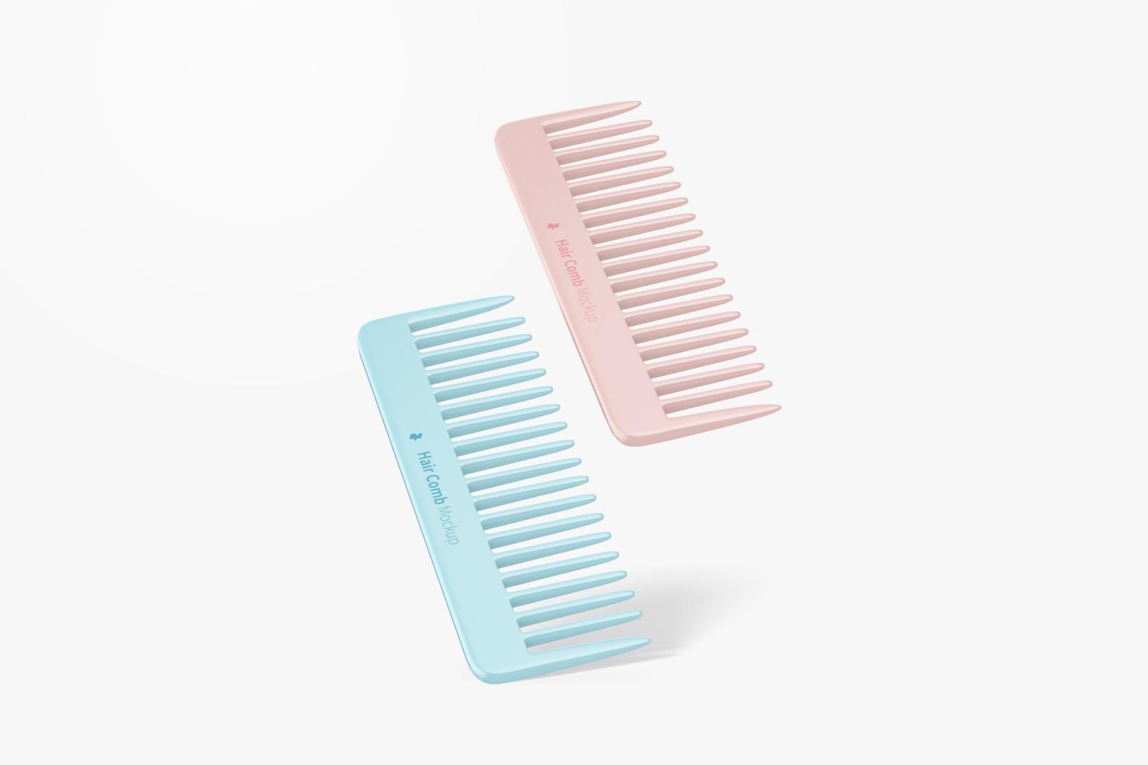Hair Combs Mockup, Floating