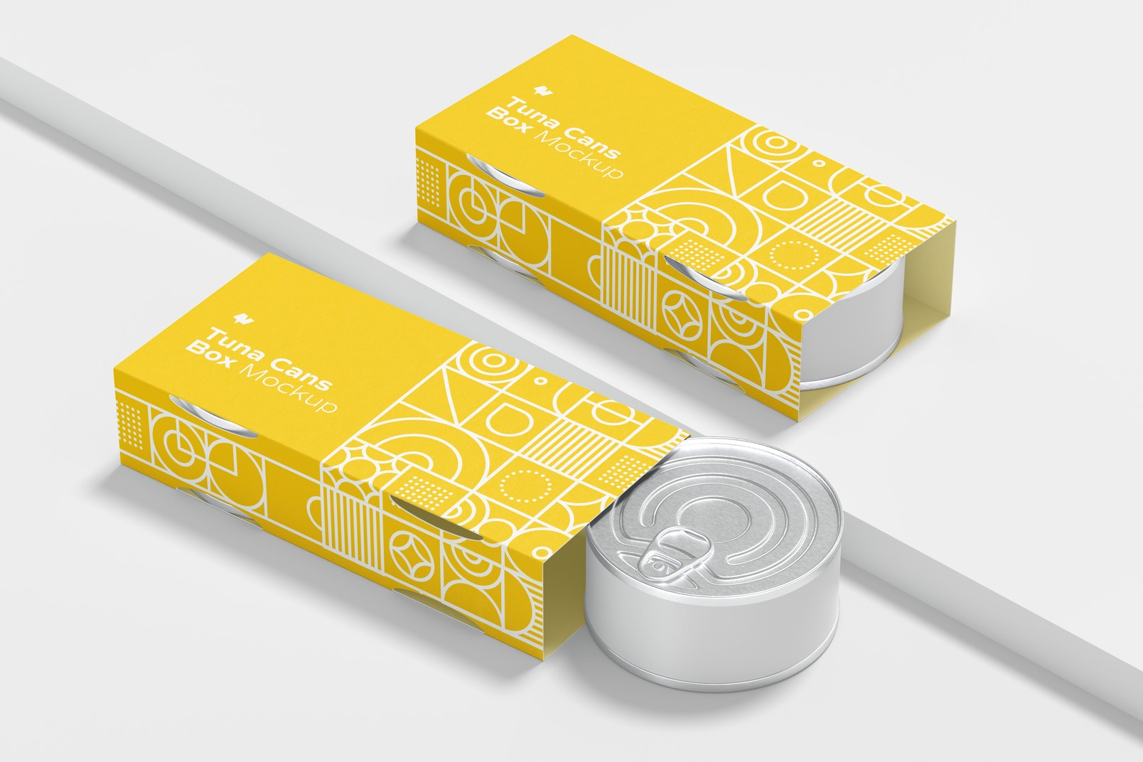 Tuna Cans Boxes Mockup, Left View