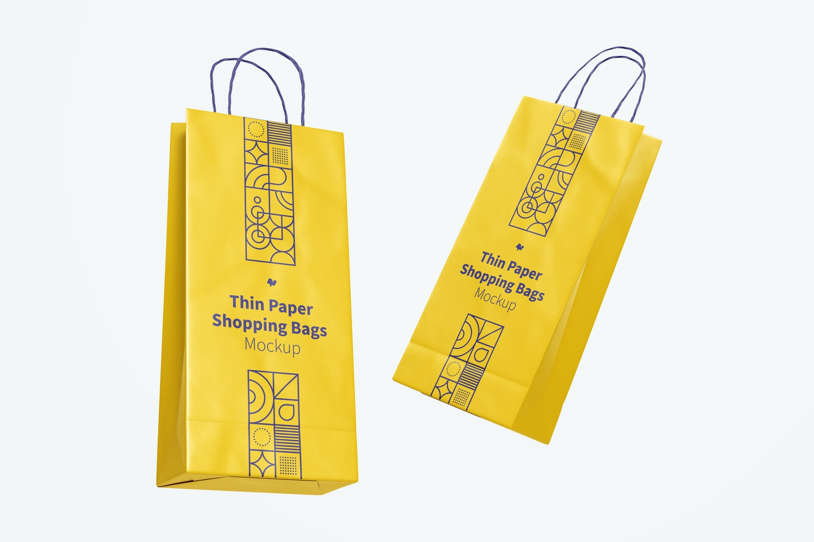 Thin Paper Shopping Bags Mockup, Floating