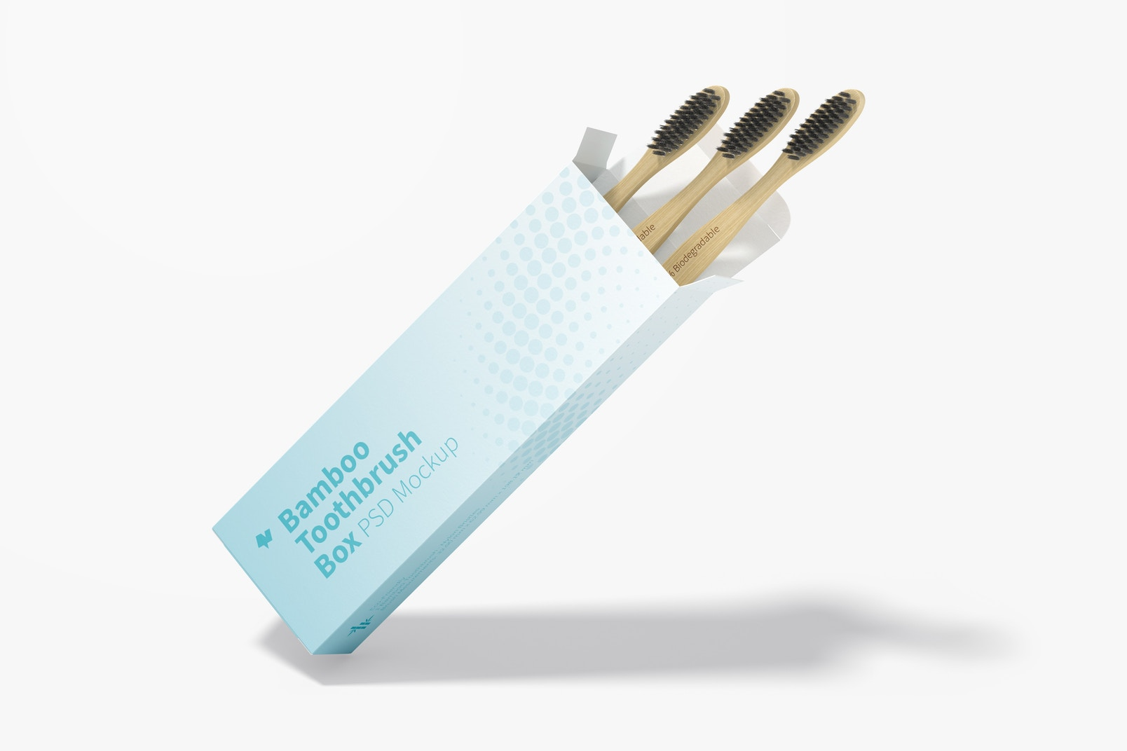 Bamboo Toothbrushes Box Mockup, Leaned