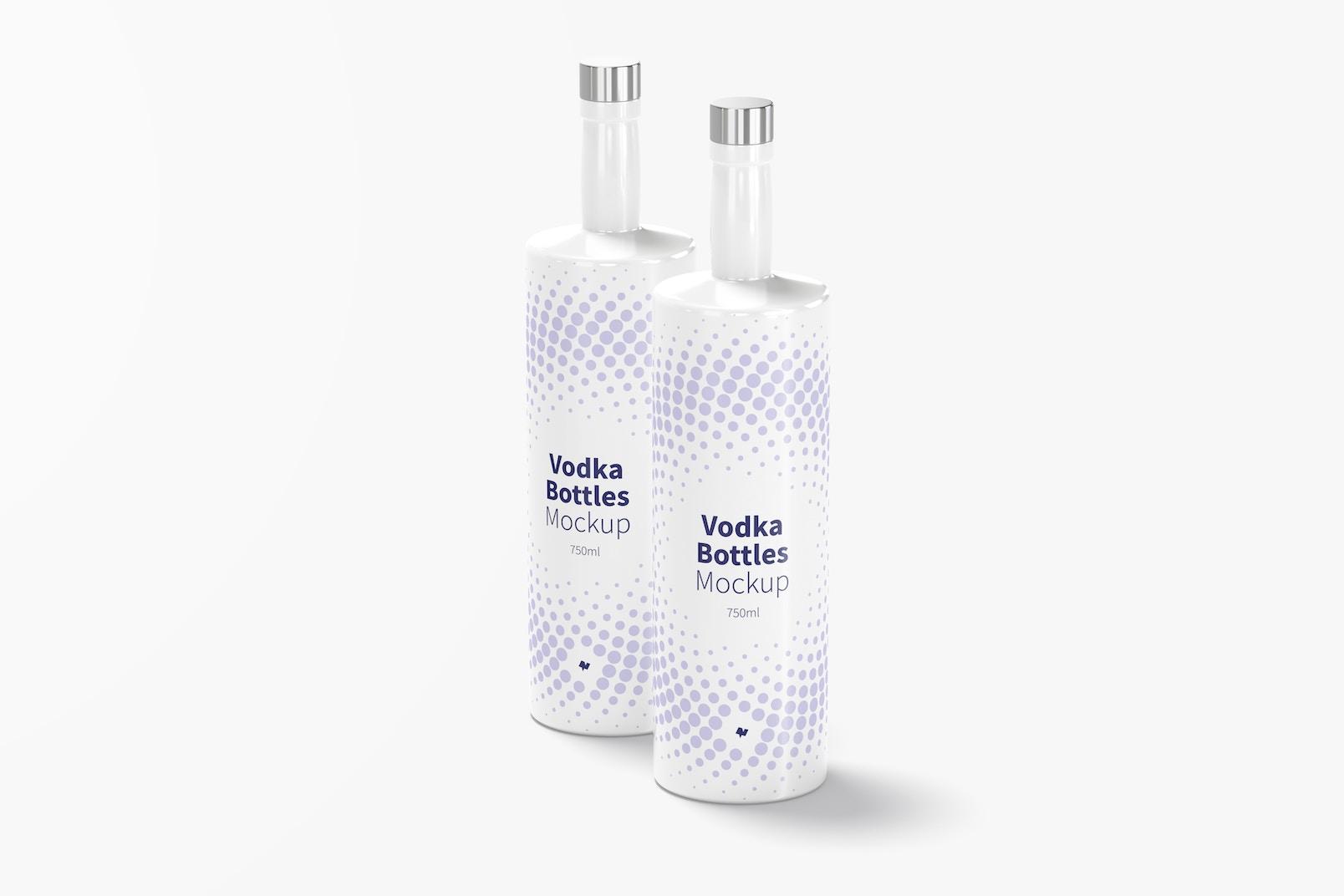 Vodka Bottles Mockup, Front View