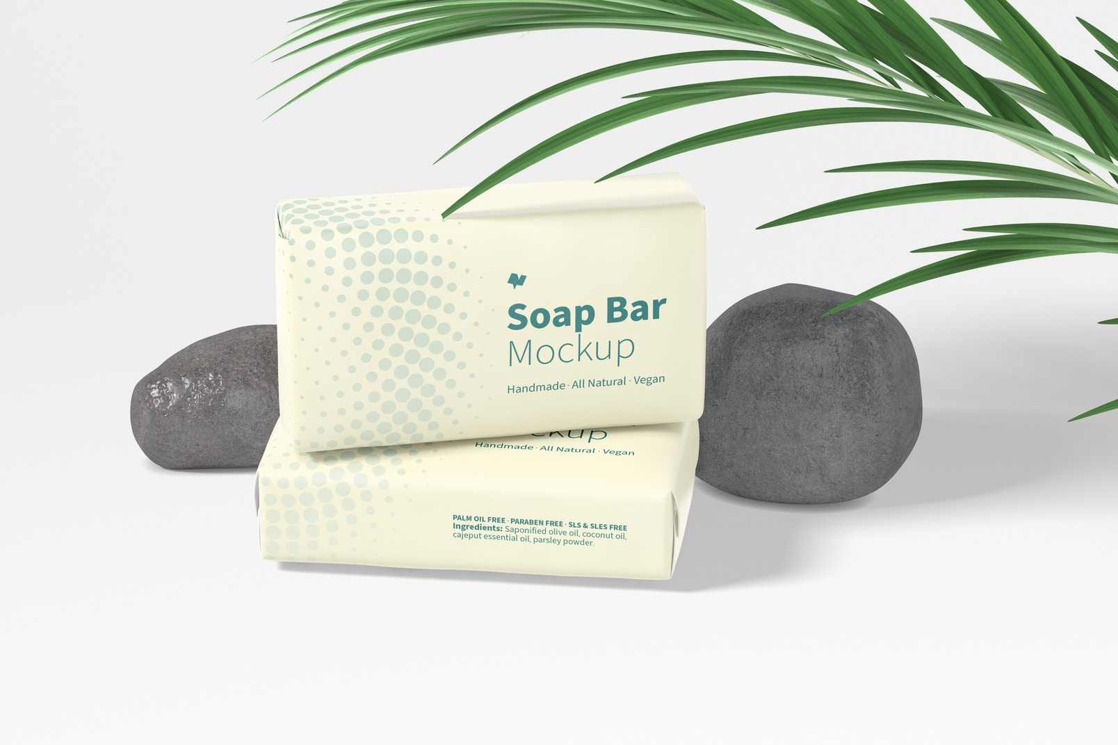 Soap Bars with Paper Package Mockup