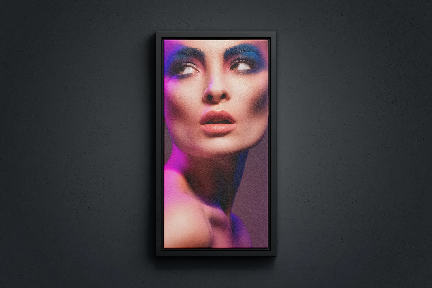 1:2 Portrait Canvas Mockup in Floater Frame, Front View