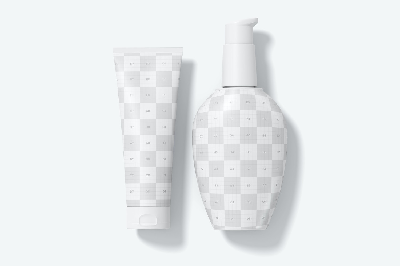 Cream Pump Bottle and Tube Mockup