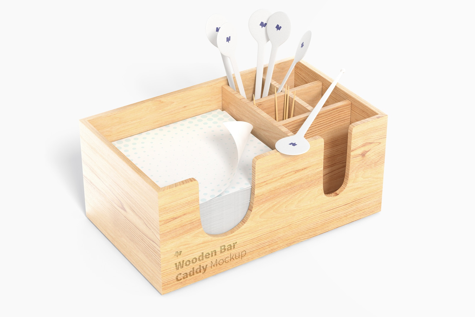 Wooden Bar Caddy Mockup, Left View