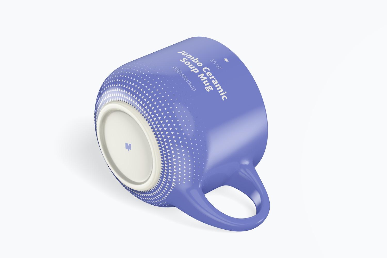 15 oz Jumbo Ceramic Soup Mug Mockup, Isometric View
