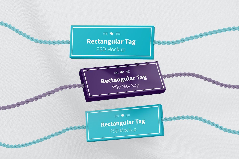 Rectangular Textile Tags Set Mockup