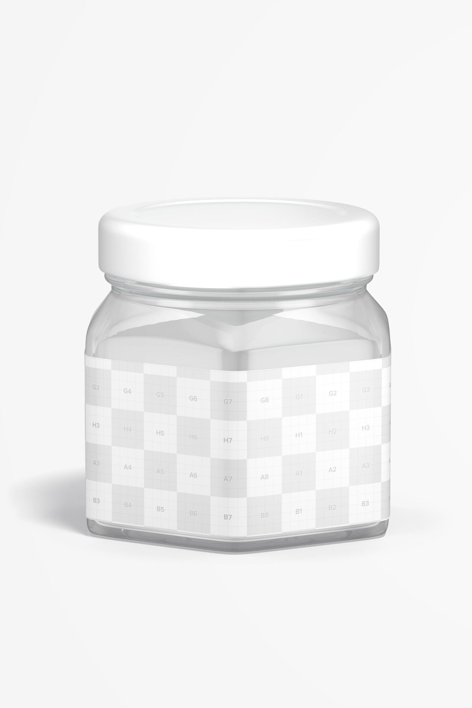 4 oz Glass Hexagon Jar Mockup