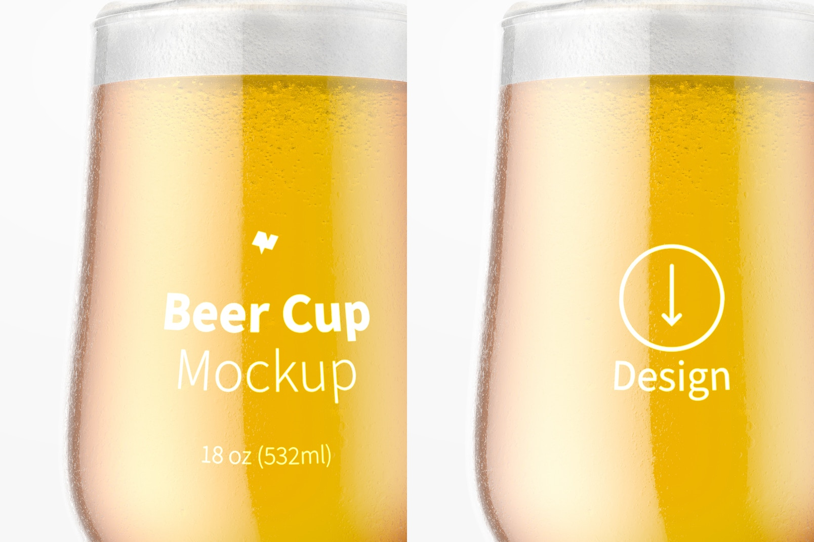 18 oz Glass Beer Cup Mockup, Close Up