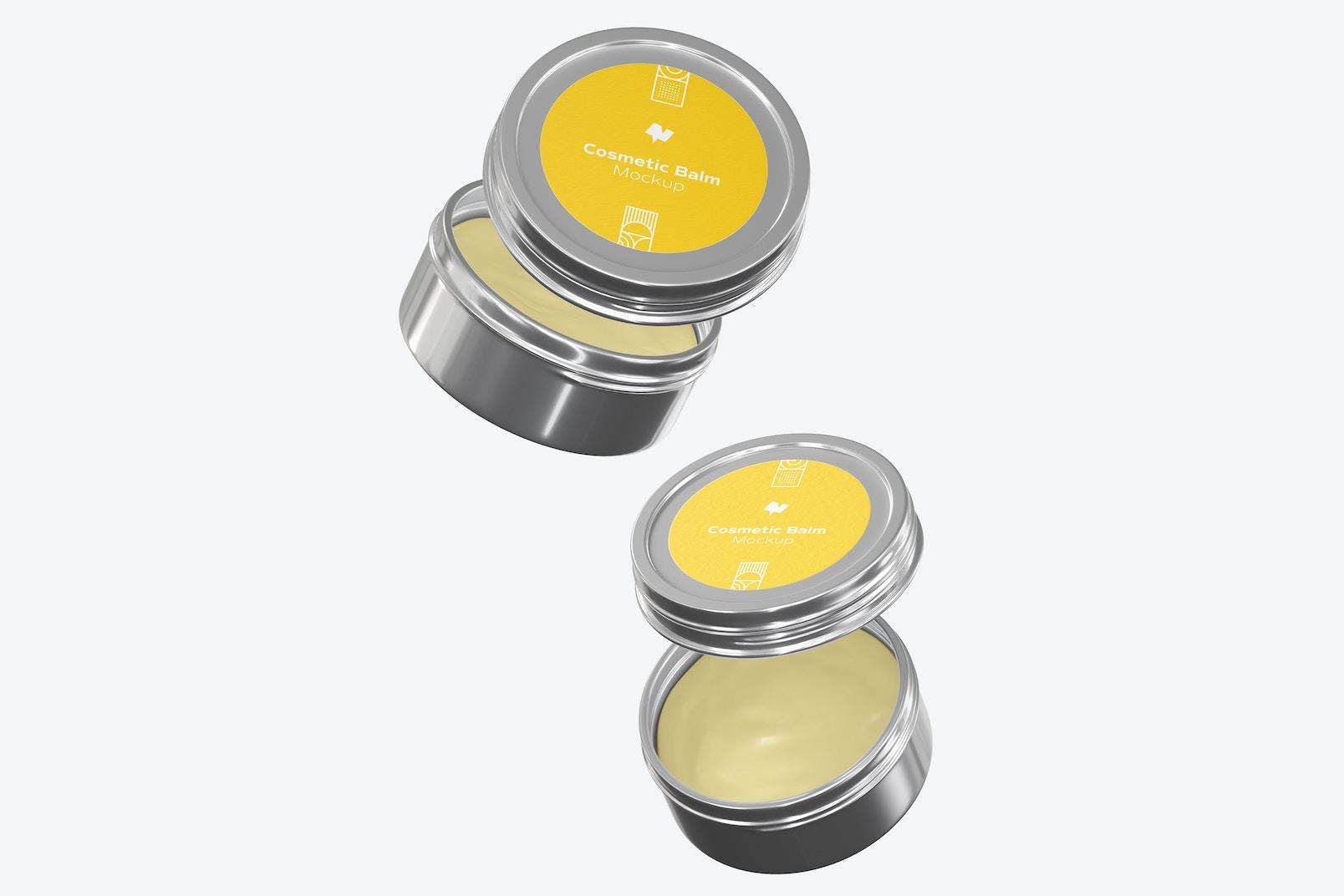Metallic Cosmetic Balm Packaging Mockup, Floating