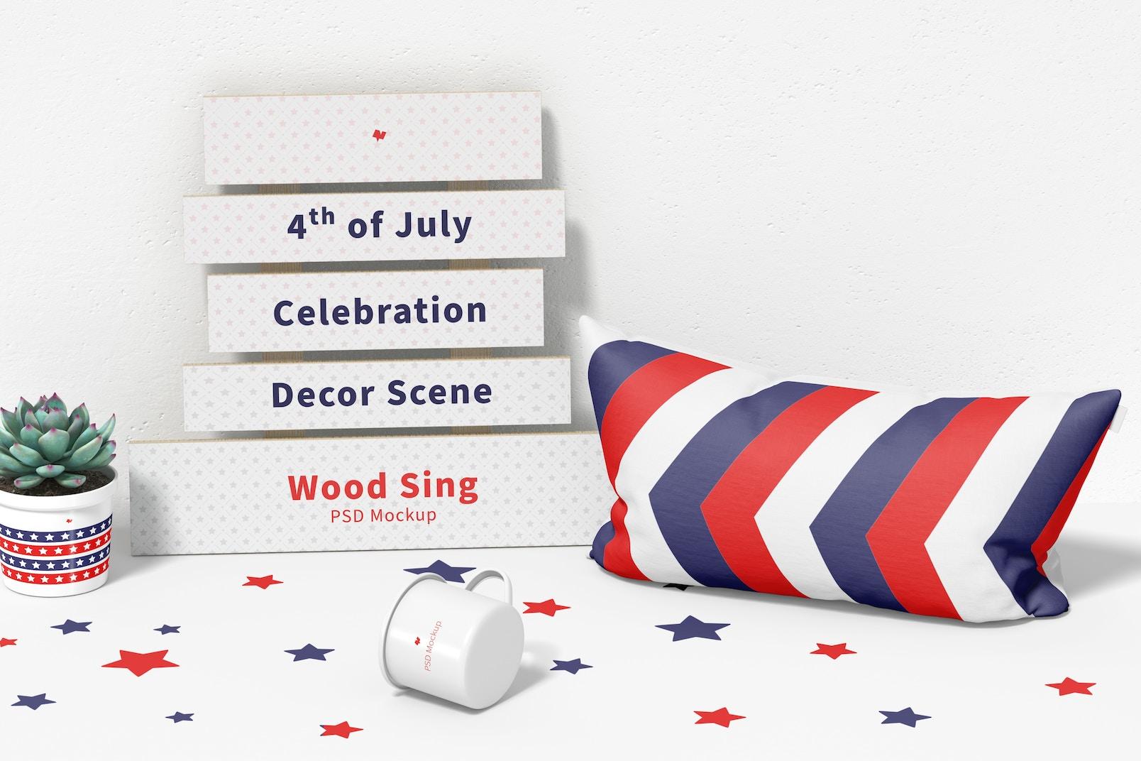 4th of July Celebration Decor Scene Mockup, Perspective
