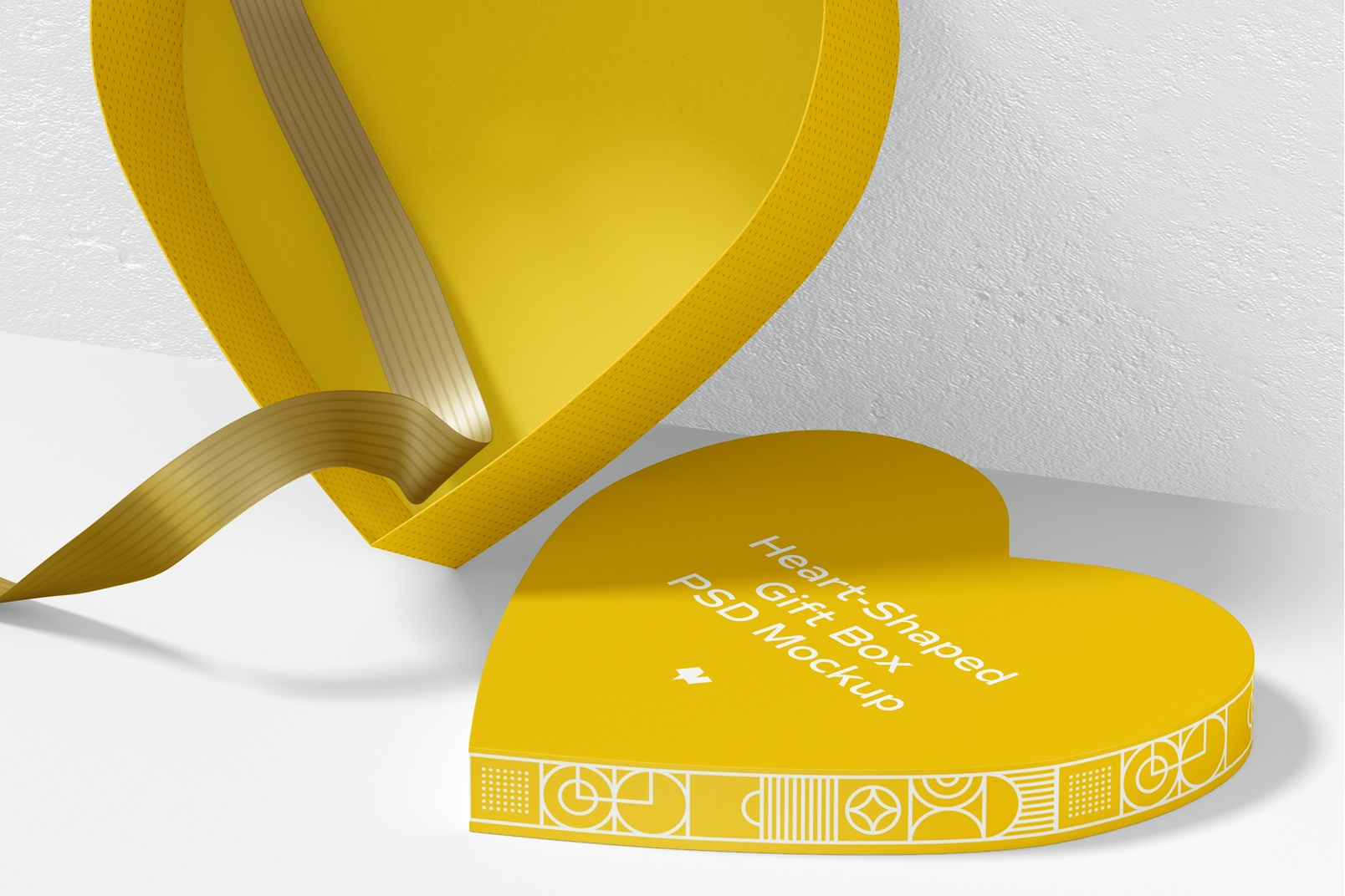 Heart-Shaped Gift Box With Paper Ribbon Mockup, Opened