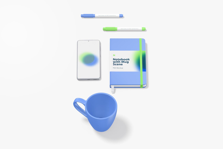 Notebook with Mug Scene Mockup, Perspective