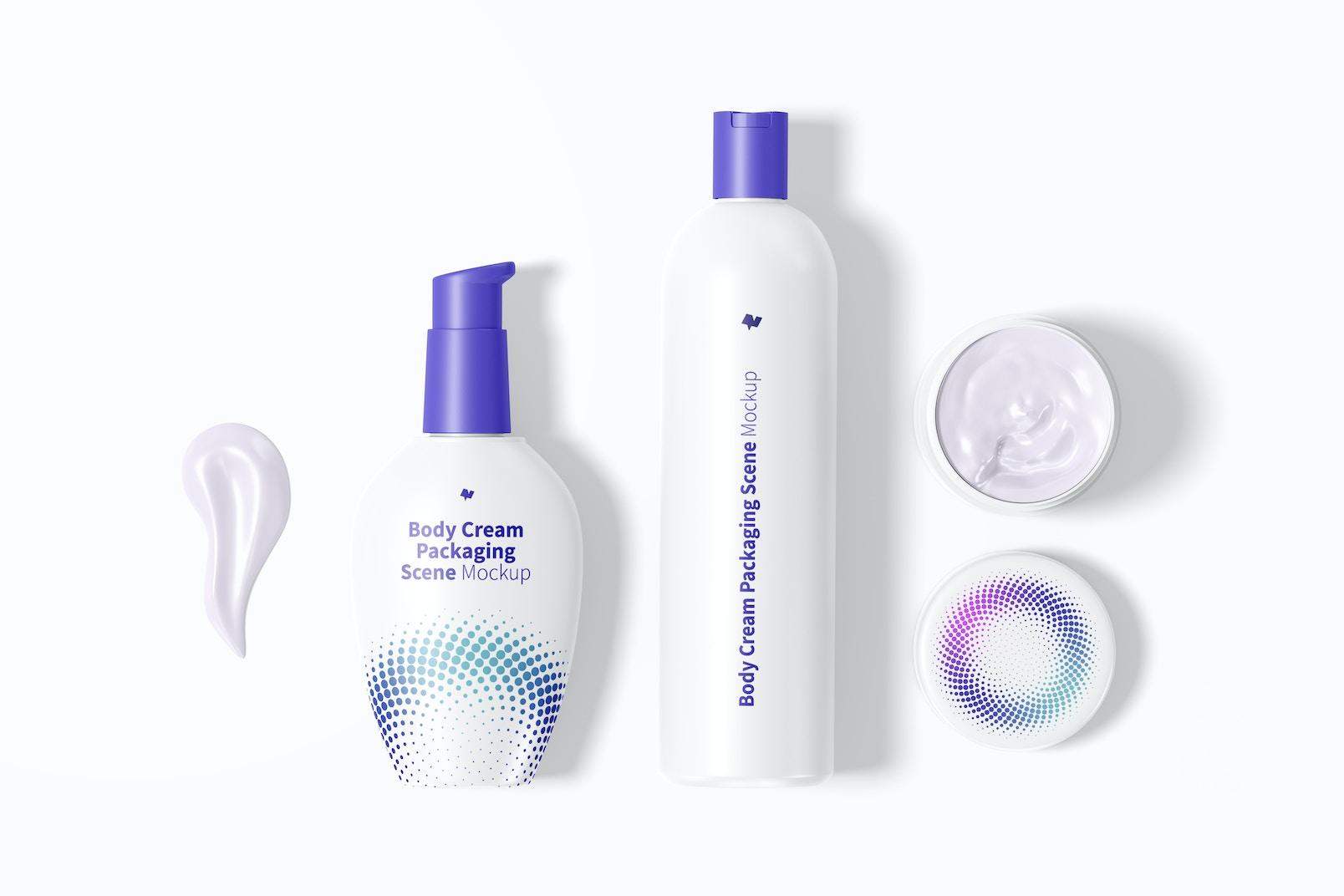 Body Cream Packaging Scene Mockup, Top View