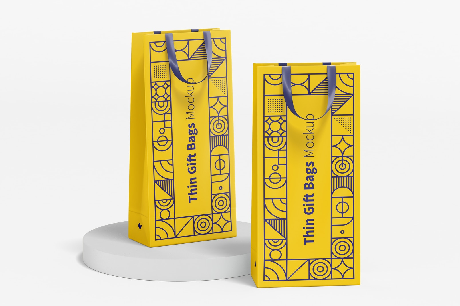 Thin Gift Bags with Ribbon Handle Mockup, Perspective