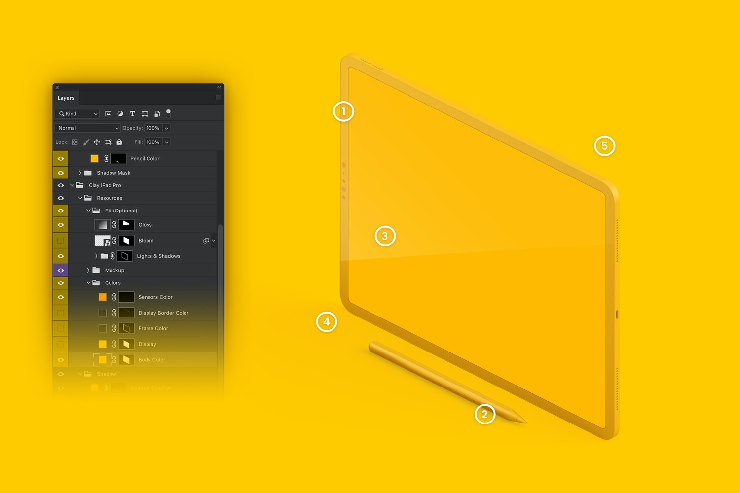 Fully customizable: (1) frame and sensors color, (2) color apple pencil, (3) optional glossy, (4) customizable shadows and (5) isolate background.