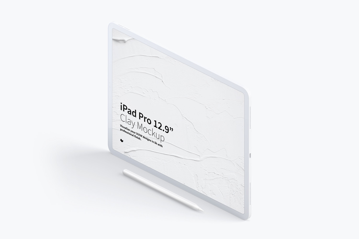 Clay iPad Pro 12.9 Mockup, Isometric Left View 03 by Original Mockups on Original Mockups