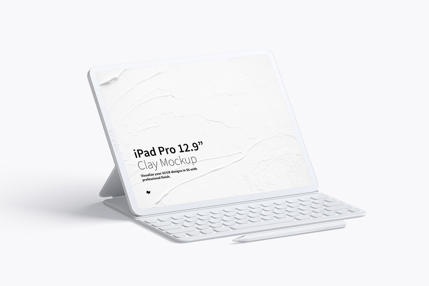 "Clay iPad Pro 12.9"" Mockup, With Key Board by Original Mockups on Original Mockups"