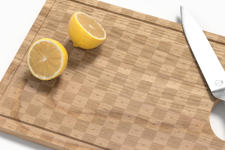 Wooden Cutting Board Mockup, Close Up