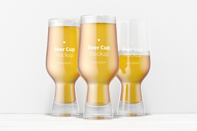 18 oz Glass Beer Cup Set Mockup