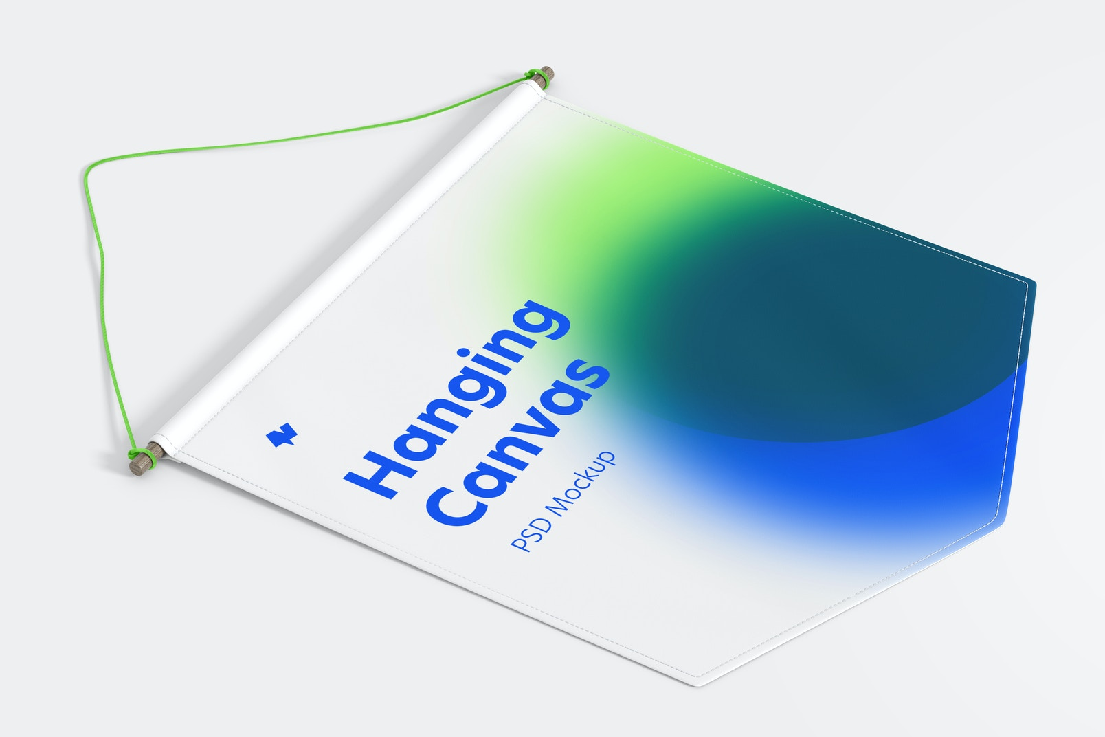 Hanging Canvas Pennant Mockup, Perspective