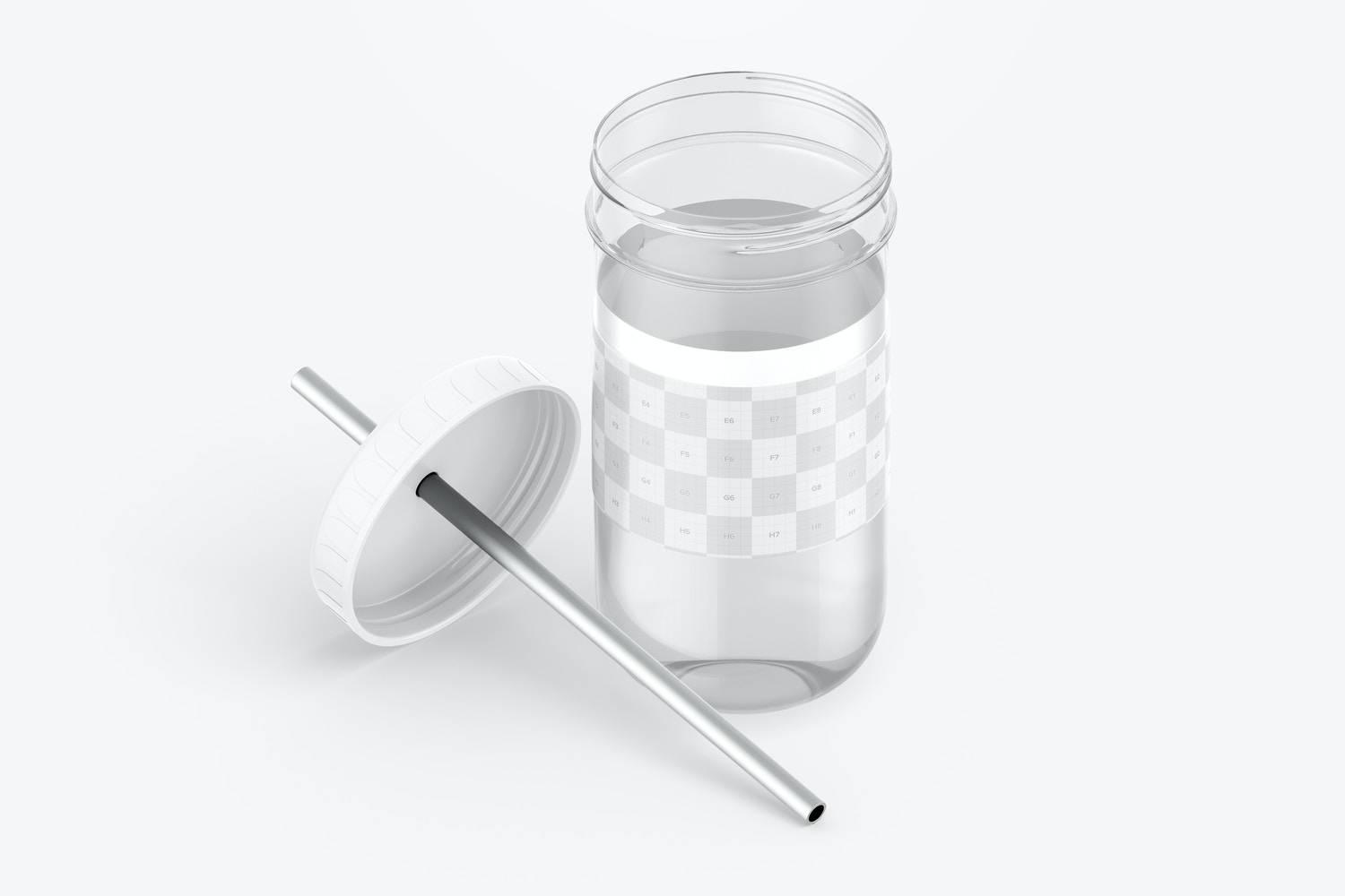 Smoothie Cup with Lid Mockup, Isometric Opened View