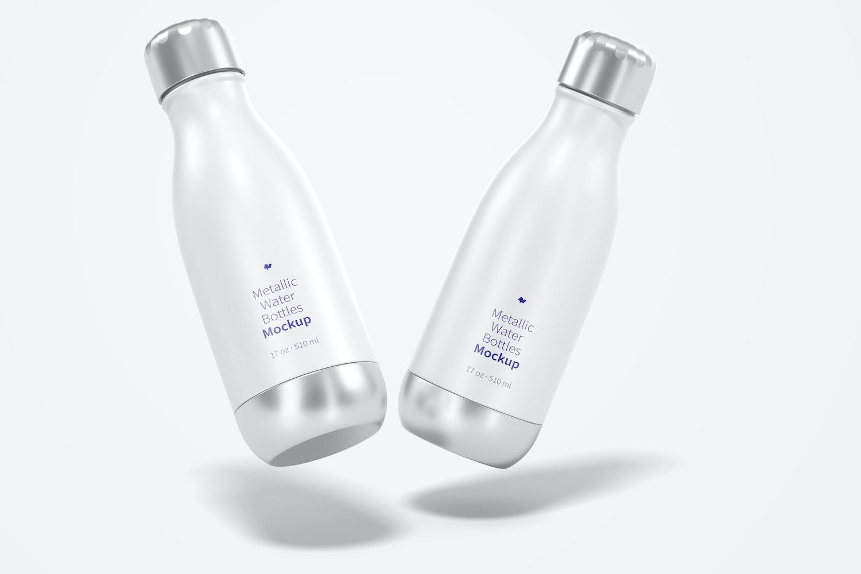 17 oz Metallic Water Bottle Mockup, Floating