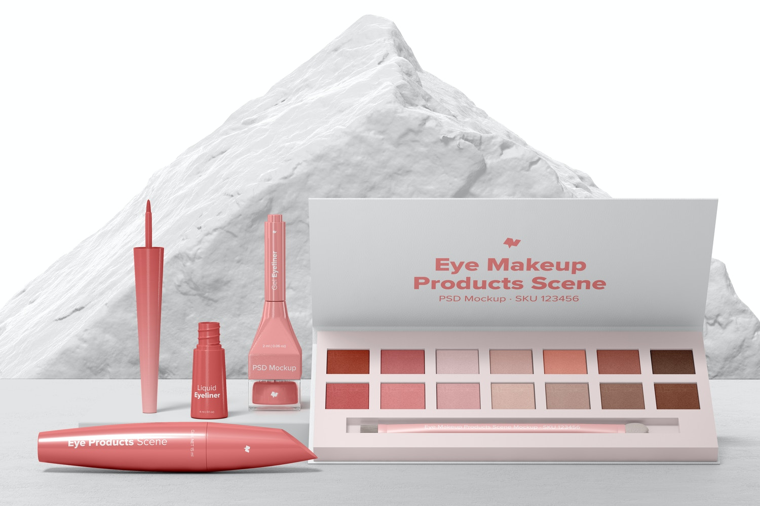 Eye Makeup Products Scene Mockup, Front View 02