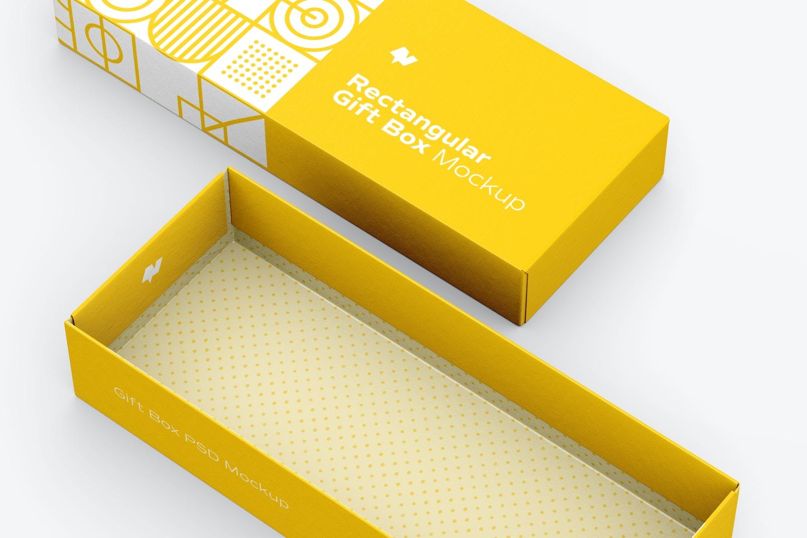 Rectangular Gift Box Mockup, Close Up