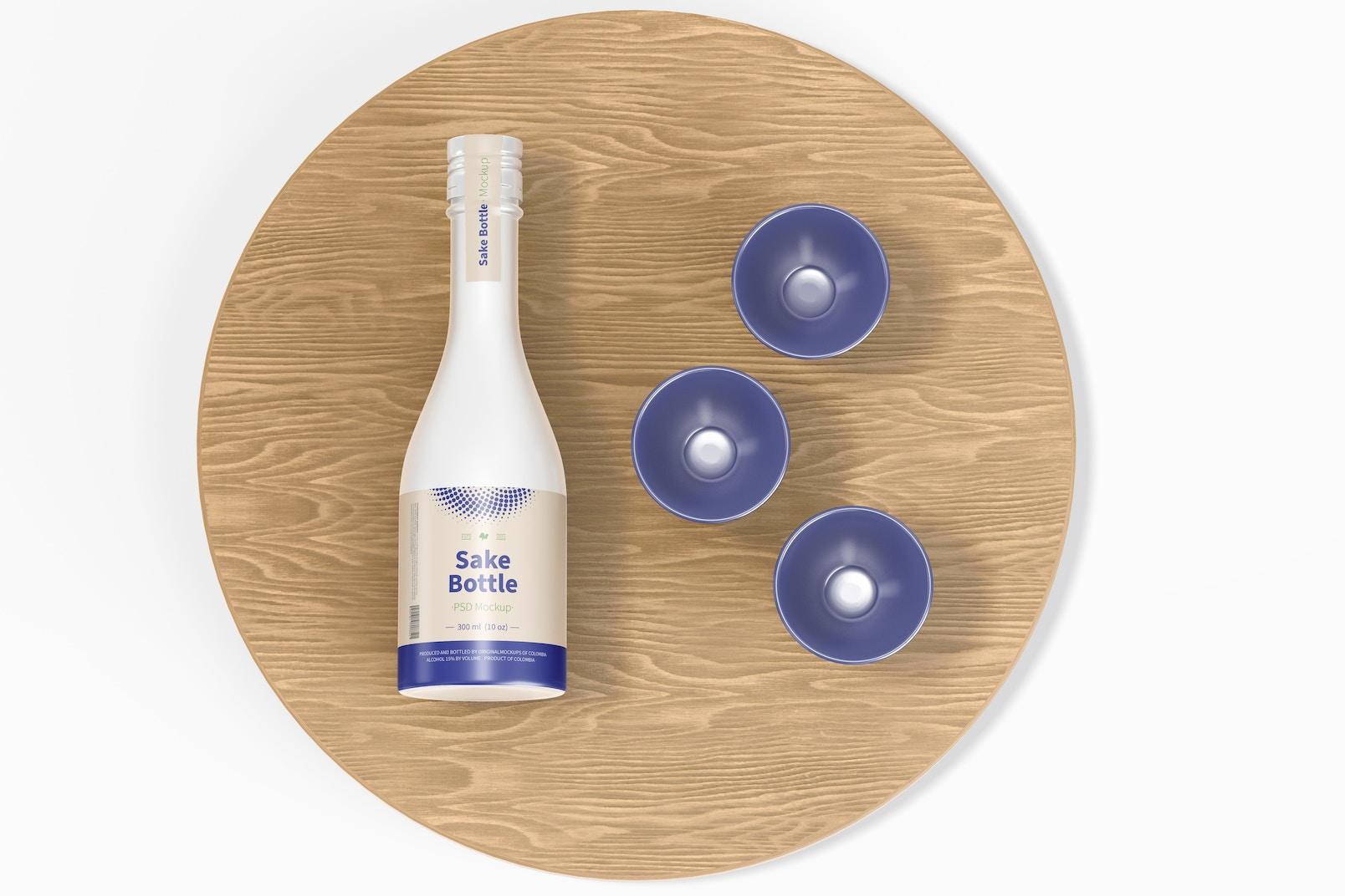Maqueta de Botella de Sake, Vista Superior