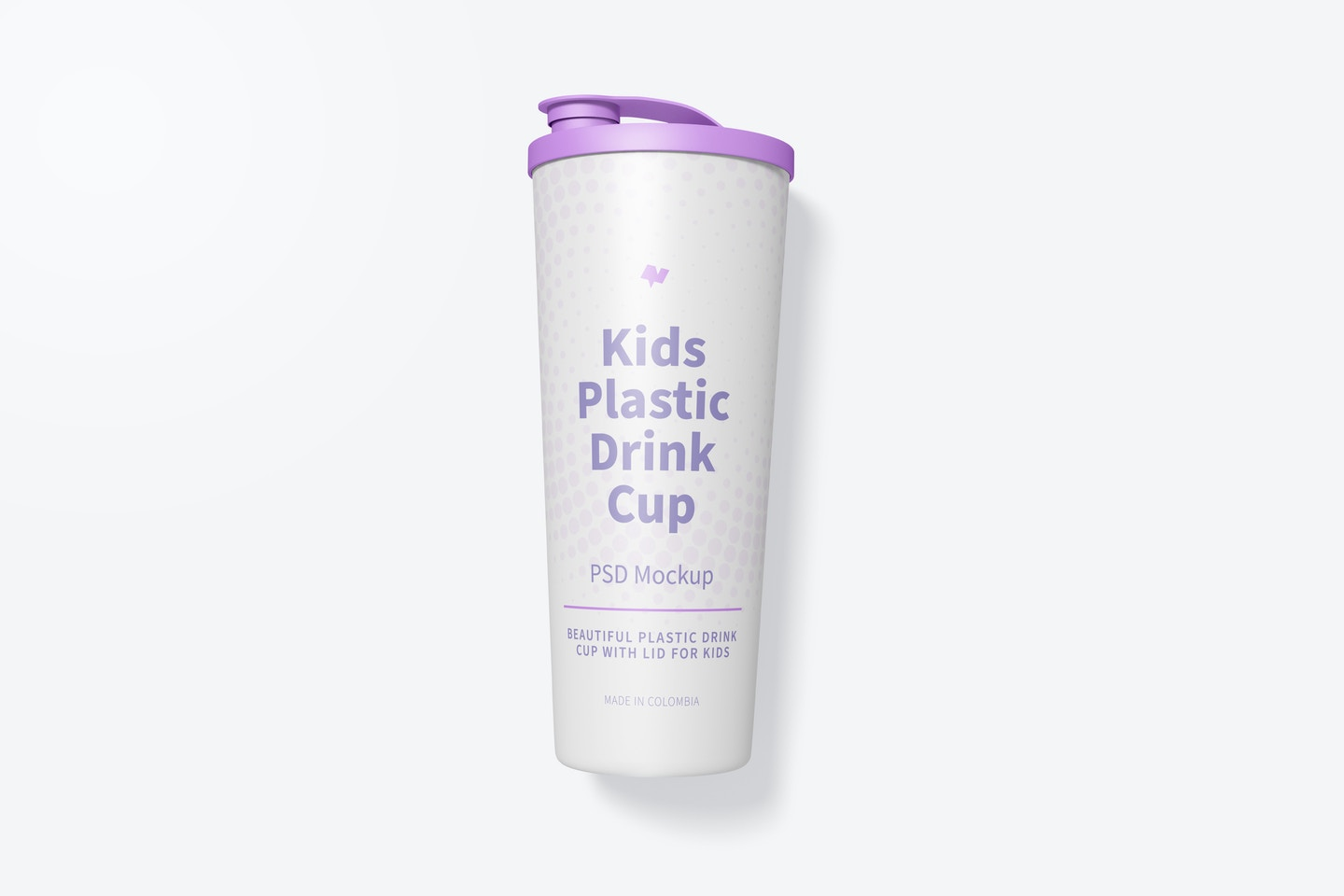 Kids Plastic Drink Cup With Lid Mockup, Top View