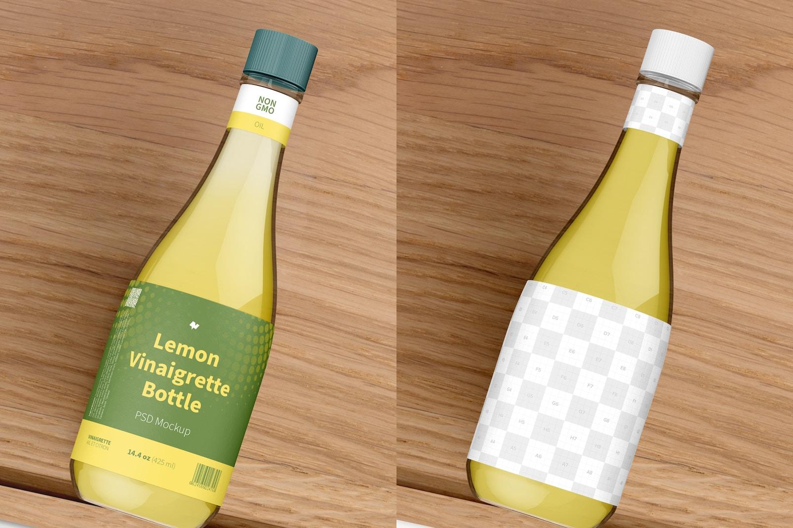 14.5 oz Lemon Vinaigrette Bottle Mockup, Top View