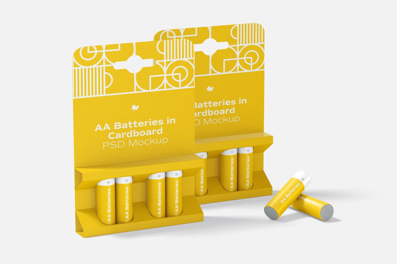 AA Batteries in Cardboard Mockup, Perspective