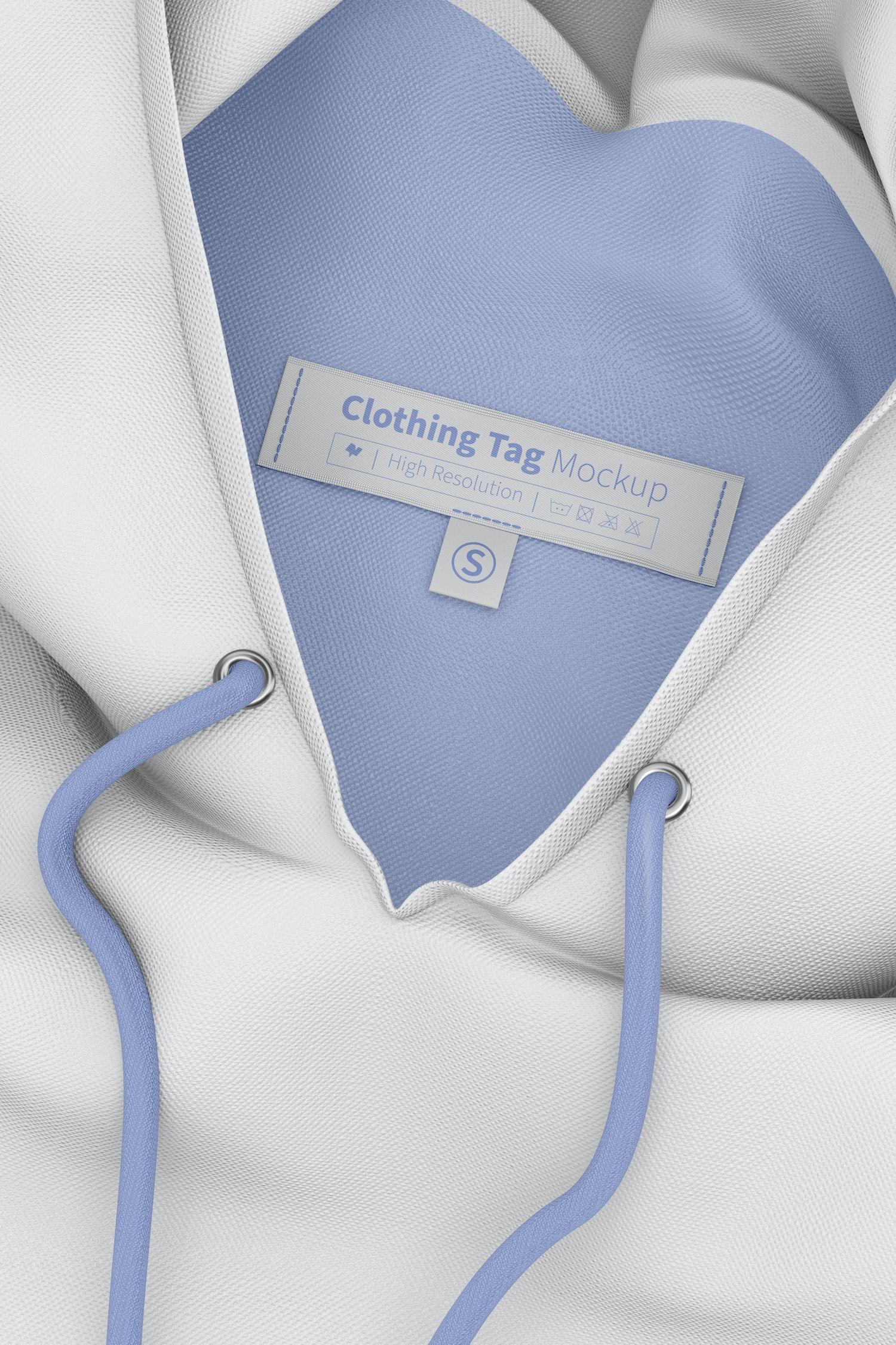 Clothing Tags Mockup, on Hoodie